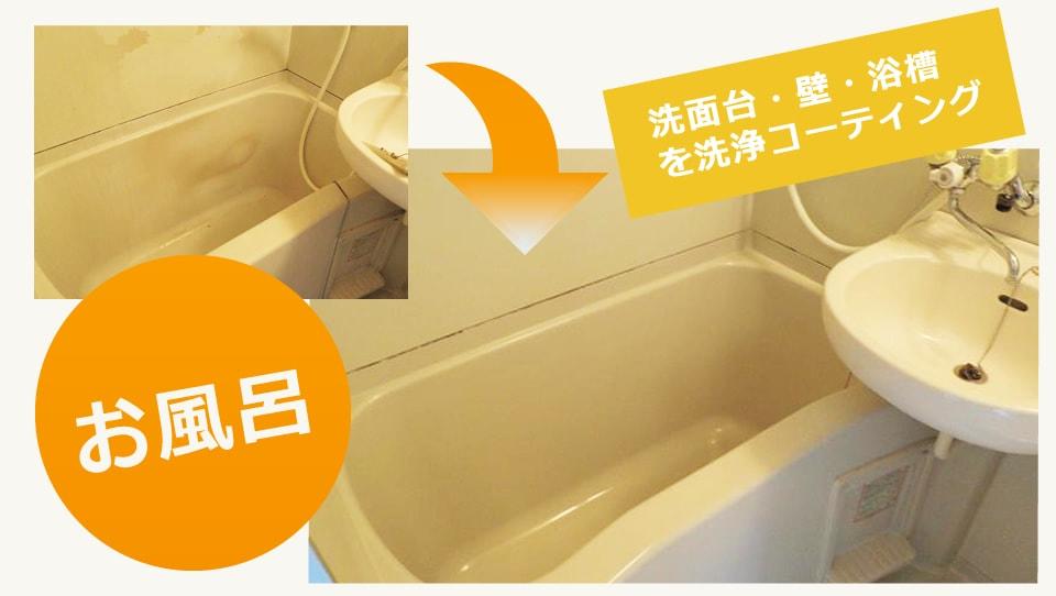 お風呂・浴槽・洗面台・壁・浴槽を洗浄コーティング